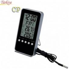 ET 6801C Oda Tipi İç Dış Sıcaklık Ölçer ve Saat